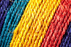 Rainbow-colored hemp rope Stock Images