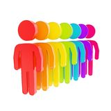 Rainbow colored human figure emblems isolated Stock Images