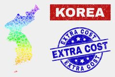 Rainbow Colored Industrial Korea Map and Distress Extra Cost Stamps. Engineering Korea map and blue Extra Cost textured seal stamp. Spectral gradient vector stock illustration