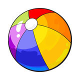 Rainbow colored inflated beach ball, sketch style vector illustration isolated. On white background. Hand drawn colorful beach ball, symbol of summer vacation Royalty Free Stock Photography