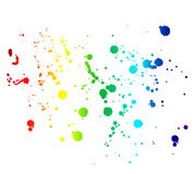 Rainbow colored ink stains and drops isolated on white Stock Photo