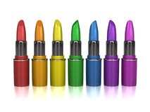 Rainbow colored lipsticks Royalty Free Stock Images