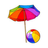 Rainbow colored, open beach umbrella and inflated ball. Sketch vector illustration isolated on white background. Hand drawn sun shading umbrella and beach ball Stock Images