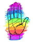 Rainbow colored open hand raised up. Gay Pride. LGBT concept. Re vector illustration
