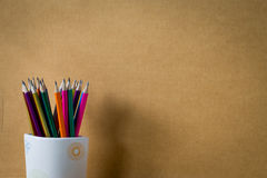 Rainbow colored pencil in cup Stock Photography
