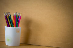 Rainbow colored pencil in cup Stock Photo