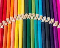 Rainbow of colored pencils Royalty Free Stock Photos