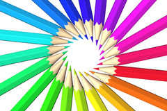 Rainbow colored pencils Stock Photo