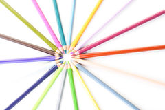 Rainbow colored pencils - close-up Royalty Free Stock Photos
