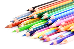 Rainbow colored pencils - close-up Stock Images