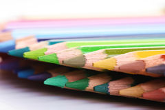 Rainbow colored pencils - close-up Royalty Free Stock Images