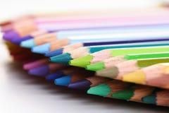 Rainbow colored pencils - close-up Stock Photos
