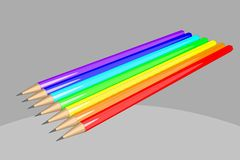 Rainbow colored pencils illustration Royalty Free Stock Image
