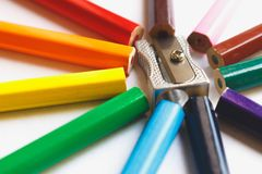 Rainbow from colored pencils. macro detail. Sharpener silver Royalty Free Stock Photos