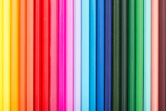 Rainbow Colored Pencils Row Stock Image