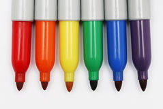 Rainbow Colored Permanent Markers 2 Stock Photography