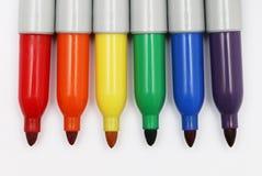 Rainbow Colored Permanent Markers 2. Six rainbow colored permanent markers Stock Photography