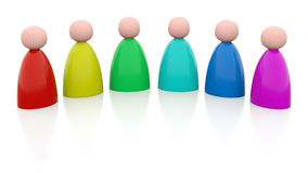 6 rainbow-colored persons. An illustration of 6 colored persons, ordered by colors of the rainbow Stock Photos