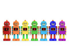 Rainbow colored plastic cute vintage robots shiny light bub and screen with pixel heart icon. Stock Images