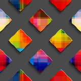 Rainbow colored rectangles on gray seamless pattern Stock Images