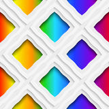 Rainbow colored rectangles holes and rim seamless pattern Stock Image