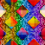 Rainbow colored rectangles on rainbow colored mosaic seamless pa Royalty Free Stock Photo