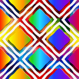 Rainbow colored rectangles and rim on rainbow seamless pattern Stock Image