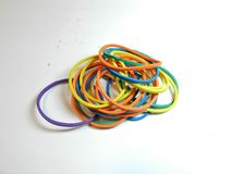 Rainbow-colored rubber elastic. royalty free stock images