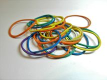 Rainbow-colored rubber elastic. royalty free stock photos