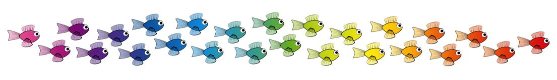 Free Rainbow Colored School Of Fish Stock Images - 187389504