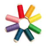 Rainbow Colored Set Of Threads Over White Royalty Free Stock Photography