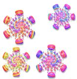 Rainbow colored snowflakes with drop shadow on white Stock Photo