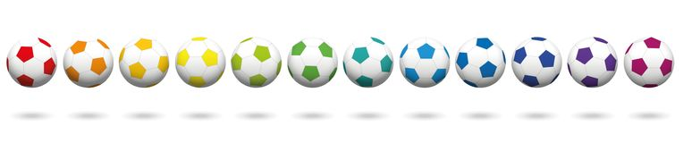 Rainbow Colored Soccer Balls Collection Row. Soccer balls. Lined up with different colors. Rainbow colored three-dimensional isolated vector illustration on Stock Photo