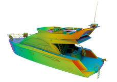 Rainbow colored speed boat Royalty Free Stock Photography