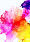 Rainbow colored splashes vertical. Colorful background hand drawn with bright inks and watercolor paints. Color splashes and splatters create uneven artistic Stock Image