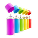 Rainbow colored spray oil color cylinders Stock Images