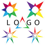 Rainbow Colored Stars.Set Logo Elements. Templates for Corporate Logotypes. stock illustration