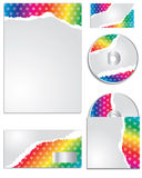 Rainbow colored torn paper business set Royalty Free Stock Photo