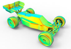 Rainbow colored toy car Royalty Free Stock Photo