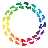 Rainbow colored traces of human feet. Vector illustration vector illustration