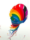 Rainbow Colored Tube Kite Flying Stock Images