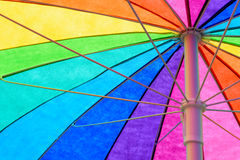 Rainbow Colored Umbrella Background Stock Photo