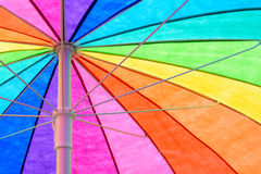 Rainbow Colored Umbrella Background Stock Photography