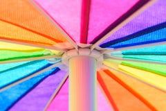 Rainbow Colored Umbrella Background Stock Image
