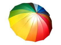 Rainbow colored umbrella isolated with clipping path royalty free stock images