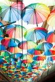 Rainbow colored umbrellas Royalty Free Stock Photo