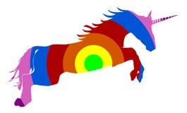 Rainbow colored unicorn on white Royalty Free Stock Photography