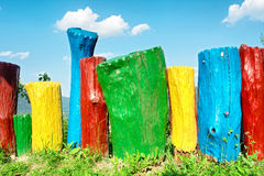 Rainbow-colored wood decoration in garden Stock Photography