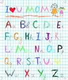 Rainbow colorful baby sketchy hand drawn painting style doodle alphabet letters on squared notebook page isolated vector illustrat. Multicolored baby sketch hand royalty free illustration