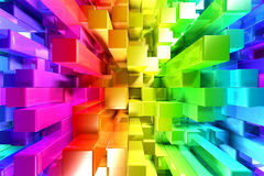 Rainbow of colorful blocks Stock Photography